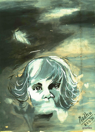 Child in a storm - watercolor (25 Sep 1990)